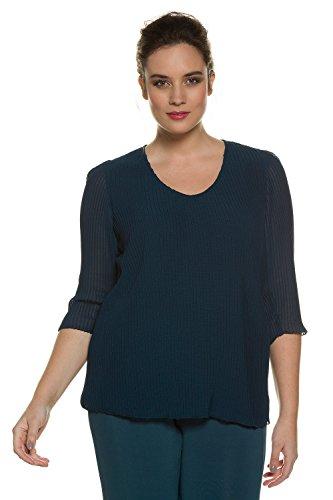 Ulla Popken Femme Grandes Tailles Tunique Chic à Manches 3/4 708845 bleu pétrole