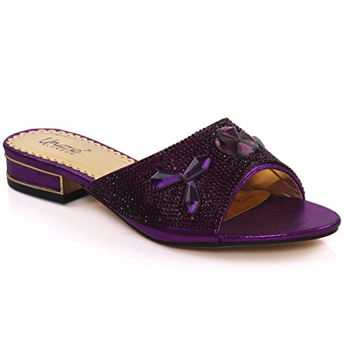 Unze Womens ' Semi ' Strass Slippers - 197-21 Violett