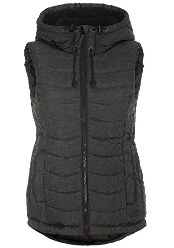 BlendShe Neni Damen Weste Outdoor-Weste Mit Kapuze Und Stehkragen, Größe:XL, Farbe:Black (20100)