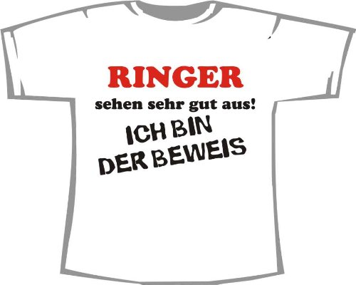 Ringer sehen sehr gut aus - Ich bin der Beweis; Kinder T-Shirt weiß, Gr. 1-2 (T-shirt Ringer Kinder 2)