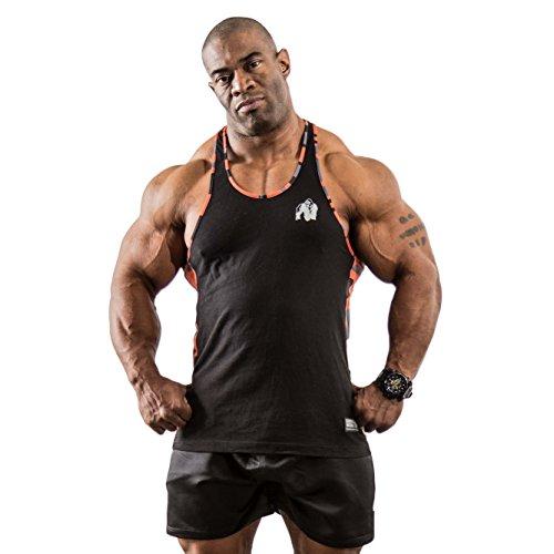 Gorilla Wear Sacramento Camo Mesh Tank Top - Black/Neon Orange, L (Mesh Baumwolle Tank Top)