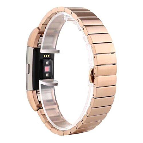 Koly Pulsera de acero inoxidable de estilo de bambú correa de banda de reloj inteligente para la carga de Fitbit 2 (Oro rosa)