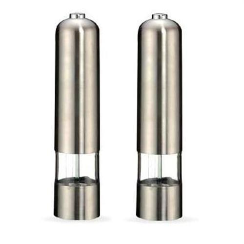 2x ELEKTRISCHE DESIGN GEWÜRZMÜHLE | Mahlen Sie Ihre Gewürze einfach und praktisch per einhändigem Knopfdruck! Aus hochwertigem Edelstahl mit Beleuchtung!