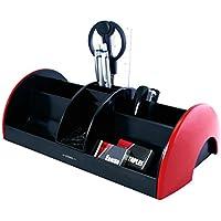 EXERZ EX895A O-Life MEGA Portaoggetti da scrivania con set di cancelleria/ Organizer da scrivania – Dimensione: 30x16x9 cm - Forbici, Pinzatrice, Punti metallici, Penne, Righello, Gomma, Graffette INCLUSE – Organizzatore di cancelleria / Portapenne / Scrivania ordinata (Rosso)