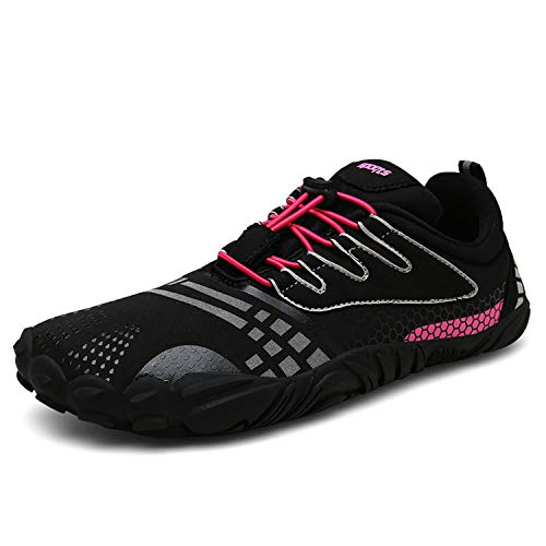 FOGOIN Barfußschuhe Fitnessschuhe Herren Damen Laufschuhe Trekking Schuhe Traillaufschuhe rutschfeste Schnell Trocknend Sportschuhe Gr38 Schwarz Rot