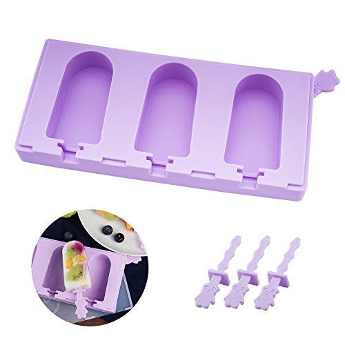 beicemania Stapelbar Eisformen Bpa Frei Oval Klassik Mini Eisform Rund Lila Eisformen Silikon Mit Popsicle Sticks