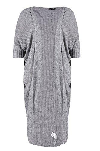 Be Jealous Frauen Kokon Warm öffnen Vorderseite Strickjacke Damen Gerippt Strickwaren ausgebeult Pullover Silber-Grau