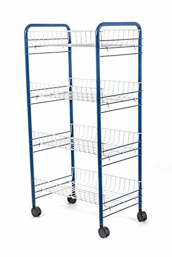 Allzweckwagen, Regalwagen mit 3 oder 4 Etagen auf Rollen, Metall, Steckmontage, lieferbar in den Farben Silber, Weiß oder Blau (4 Etagen, Blau)