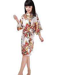 COMVIP - Kimono floral de satén para niña