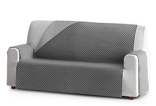 Jm textil copridivano salvadivano elena, 3 posti, protezione imbottita per divani reversibile. colore grigio 06
