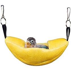 Hifuture Hamaca para mascotas de invierno de algodón amarillo con forma de barco, suave, cómodo, mantener caliente para mascotas para colgar en la cama libre para colgar luna nido con ganchos para hámsteres, pájaros jóvenes y chicles