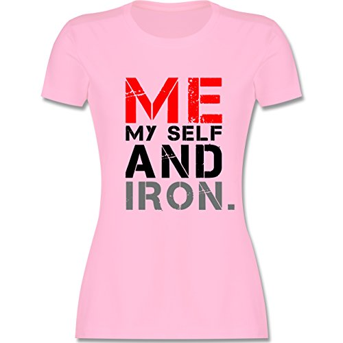 CrossFit & Workout - ME MY SELF AND IRON - tailliertes Premium T-Shirt mit Rundhalsausschnitt für Damen Rosa