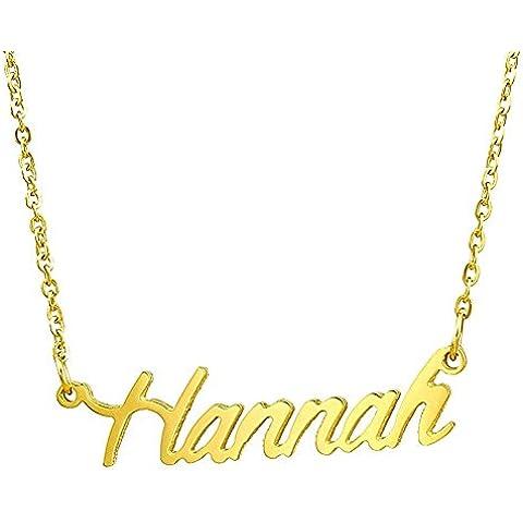 HACOOL personalizzato Name-Collana in argento Sterling 925, con ciondoli Cover personalizzabile con qualsiasi nome, qualsiasi - Dome Rose Collana