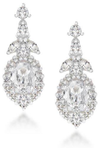 Tuscany Silver Sterling Silver White Cubic Zirconia Teardrop Earrings