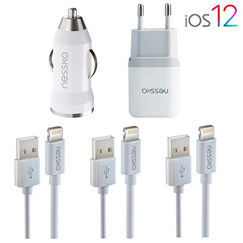 NessKa Original 5in1 Ladeset Ladegerät   2A Netzteil + 2A KFZ Adapter + 3X 1 Meter USB Highspeed Ladekabel Auto   iOS 12   für iPhone X/XR/XS/Max / 10/8 / 7 / 6s / 6 / Plus / 5s / 5 / 5c iPod