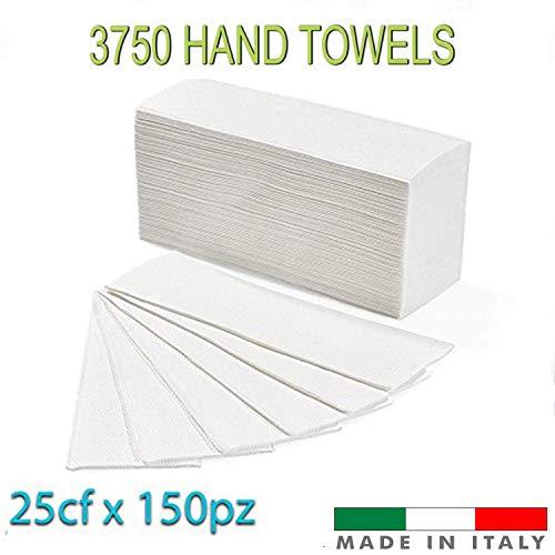 Palucart® asciugamani piegati a z asciugamani di carta per dispenser piegati a z microgoffrato pura cellulosa interfogliati conf. 3750 pz
