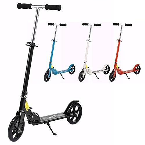 AMDirect Scooter Adulte Trottinette de Ville 200mm Roues Roller Pliable et Réglable en Hauteur City-Roller Scooter pour les Enfants de 12 ans+ jusqu'à 100 kg (noir)