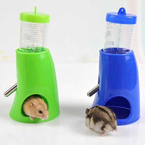FOCUSPET Hamster Mäusen Wasserflasche Nipple Inhaber Dispenser mit Base Hütte fuer Nagerkäfige -