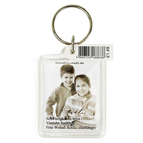Preisvergleich Produktbild Schlüsselanhänger, 5 Fotohalter aus Acryl, 3,5 x 4,5 cm im Passbild - Foto - Format, für z.B. Werbung, Hotel, Autoverleih usw