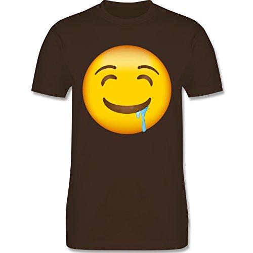 Shirtracer Comic Shirts - Emoji Wasser IM Mund - Herren T-Shirt Rundhals Braun