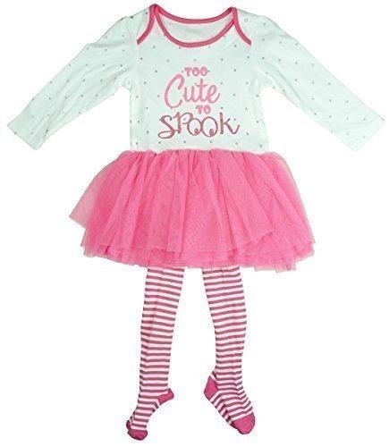 TE TO SPOOK Tutu Body & Strümpfe Halloween Kostüm Set Größen von Neugeborene bis 18 Monate - Rosa, 3-6 Months (Drei Passende Kostüme Für Halloween)