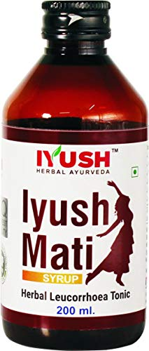 Iyush Mati Syrup for Leucorrhoea or White Vaginal Discharge, Irregular Periods, Irregular Menstruation, Painful Menstruation, Irregular Estrogen Hormone. Vaginal Infections, Pelvic Pain and Weakness--200ml