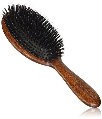 Jäneke Bürste Körper in Holz dunkel Bubinga und schwarzen Borsten auf Basis pneumatische weiß-76G - Dicke Ovale Basis