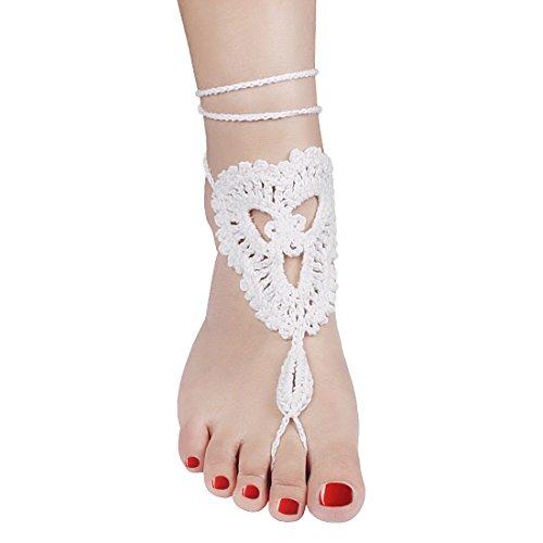 Andux Femmes Coton Main Préparation Crochet Bracelets De Cheville Barefoot Beach Sandal Pied Bijoux Chaîne Cheville HLJHPS-01