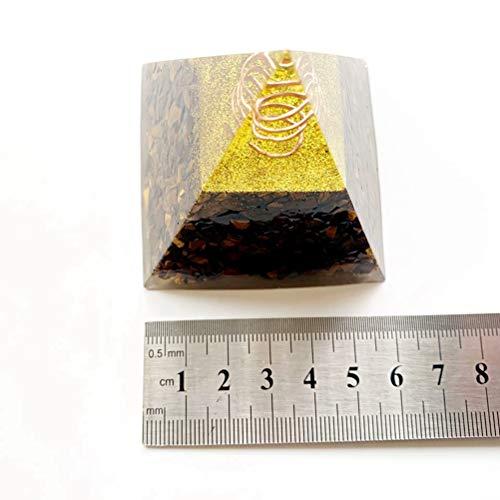 AGLKH Hauptdekorationen Natürliche Tigerauge Perlen Stein Chakra Pyramide Harz Reiki Kristall Steine   Figur Statue Fengshui Wohnkultur Großhandel, eine