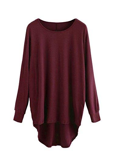 DIDK Damen Rundhals T-Shirt Asymmetrisches übergroßes Sweatshirt Oberteile Einfarbig Larngarmshirts Weinrot L