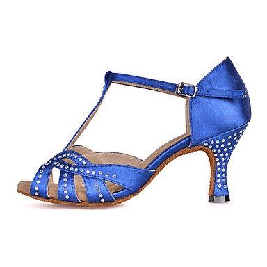 Silence @ pour femme Chaussures de danse latine en similicuir évasé Talon Green