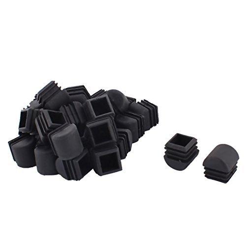 Jambes dealMux meubles de plastique Chaise Table Tube carré Tuyau Embouts caps 25 mm x 25 mm 30pcs Noir