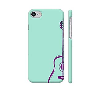 Colorpur iPhone 7 Cover - Purple Guitar On Soft Green Printed Back Case