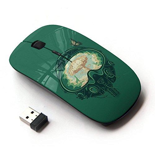 [Peculiar-Star] Colorato stampato ultrasottile ottico senza fili 2.4Ghz mouse-Black [Un combattente Bomb]