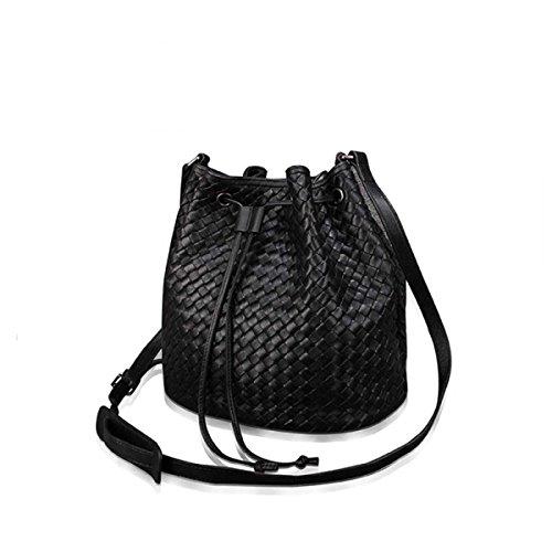 Frauen Weben Eimer Tasche Umhängetasche Black