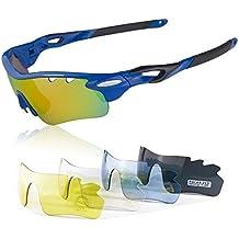 JBeard Gafas Deportivas con lentes Polarizadas y Espejo para Ciclismo MTB Running – Gafas de Bicicleta