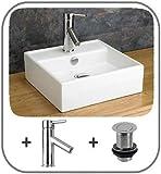 Genérico Juego de tapones mezcladores para lavabo de baño de tinta mezclador de lavabo T cuadrado de cerámica encimera cuadrada Cer mezclador Tap MounteSin juego de montaje en pared de lavabo
