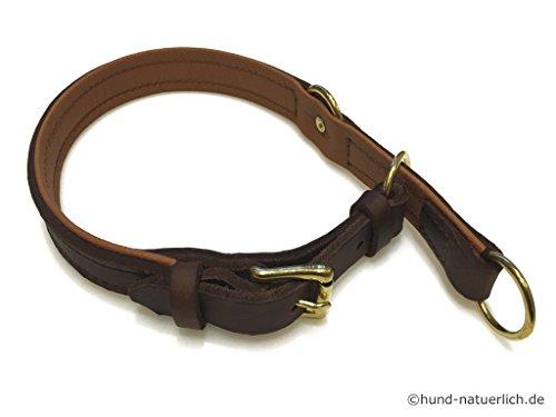 Zugstopp Lederhalsband für Hunde braun, Messing Gr. 35