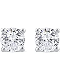 Perfect Love Diamond Collection Women's 18 ct White Gold Round Ideal Cut Diamond Solitaire Earrings, Certified Ideal Cut 1 ct