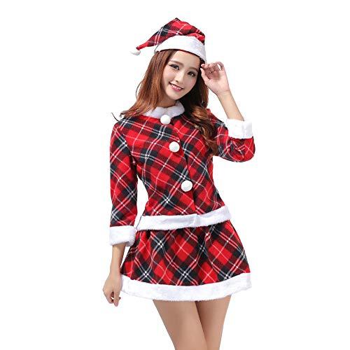 Santa Anzug Erwachsene Cosplay Sexy Teufel Uniform Bühne Leistung Anzug Kostüm Outfits Für Weihnachten/Karneval Halloween,Red,OneSize (Billig Sexy Santa Kostüm)
