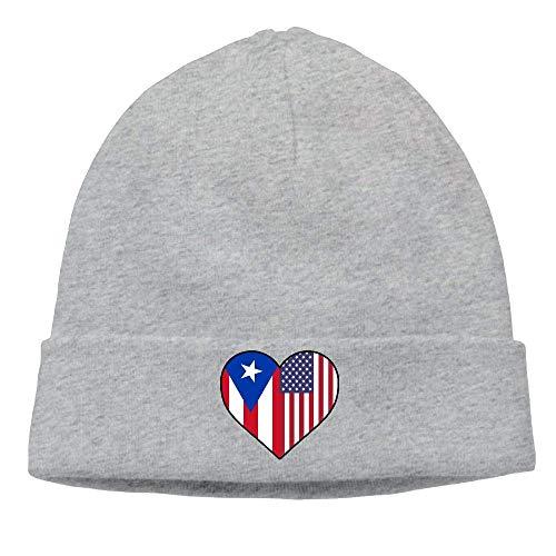 UUOnly Männer Frauen Puerto Rico Flagge Halbe Amerika Flagge Halbe Herzförmige Weiche Strickmütze Mützen