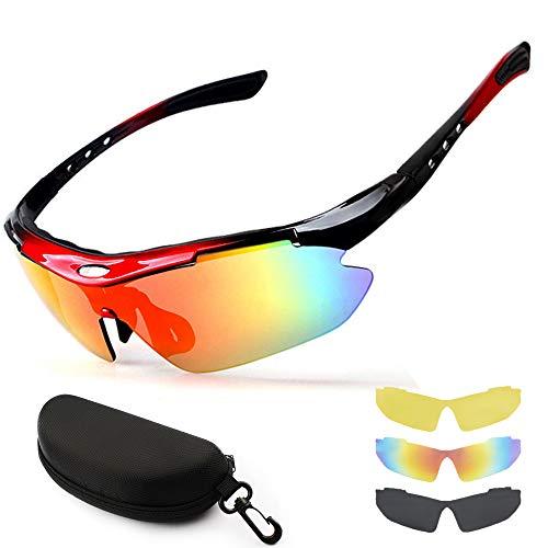 New rui cheng Radsportbrillen, Sportbrille Radsportbrille UV 400 Polarisierte Sport-Sonnenbrille mit 3 Wechselgläsern Fahrradbrille Polarisierte Sportbrille Herren Damen Angeln im Freien Fahren Brille