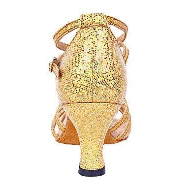 XIAMUO angepasste Frauen funkelnden Glitter obere Latin Dance Schuhe (weitere Farben) Gold