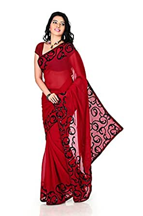 Designersareez Women Faux georgette Embroidered Deep Red Saree with unstitched blouse(1171)