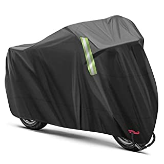 ANFTOP Motorcycle Cover Waterproof 3XL 190T Heavy Duty Rain Dust UV Protective for Outside Storage Motorbike Cover Outdoor XXXL