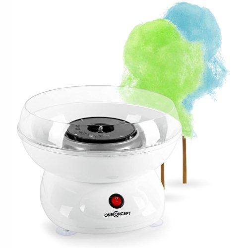oneConcept Candy Cloud Mini Zuckerwattemaschine kleiner Zuckerwatte-Zubereiter für Zuhause (abnehmbarer Zuckerbehälter, kompakte26cmc Durchmesser, inkl. Zuckerwattestab) weiß