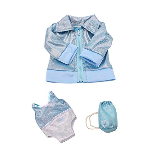 zug mit Mantel und Rucksack Schwimmen Outfit für 18'' American Girl Puppe - Blau (Baby Doll Kostüme Für Mädchen)