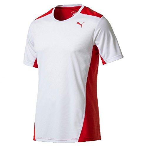 Red Bekleidung Erwachsene Tee (PUMA Erwachsene Cross The Line Tee Shirt, White Red, XS)