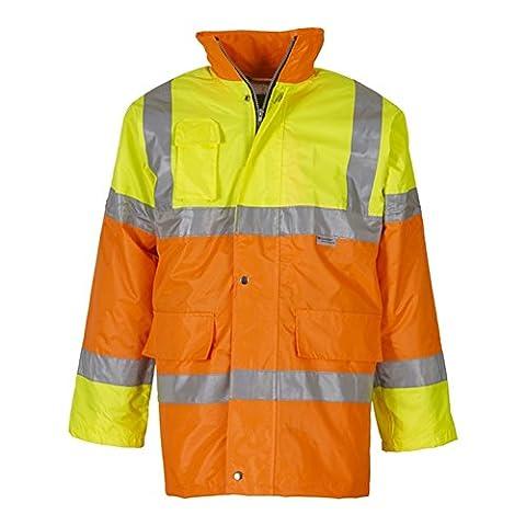 YOKO Men's Hi-vis Contrast Jacket (HVP303) Waterproof and Windproof Two Front Pockets (Medium, Yellow/ Orange)