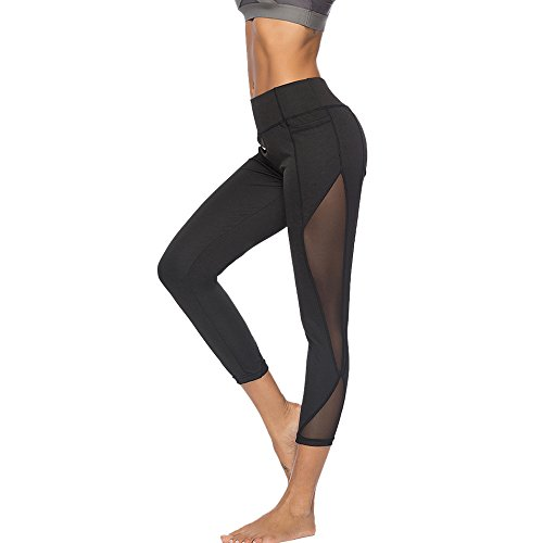 NINGSANJIN Damen Leggings Hose Yogahose Jogginghose Sport Leggins Fitness Traininghose Sporthose Workout Stretch Strumpfhosen Push Up 3D Drucken High Waist Sportswear (Schwarz,S)